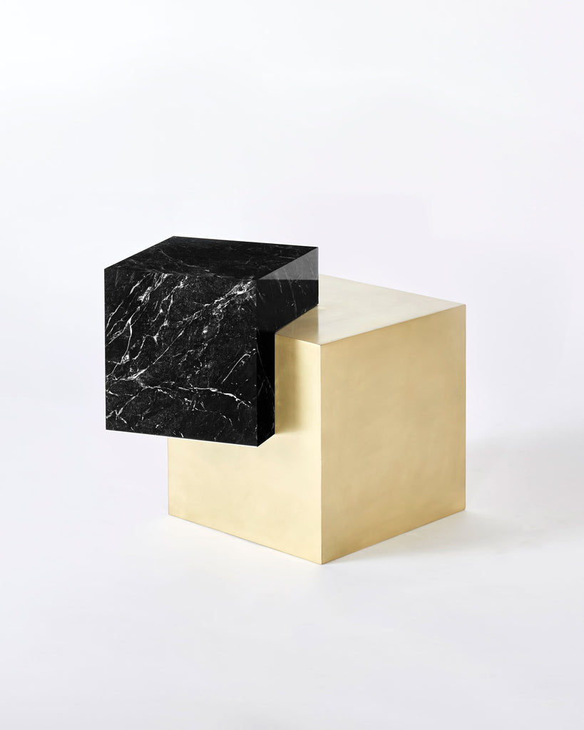 Brass cube base, black nero marquina marble cube top side table.