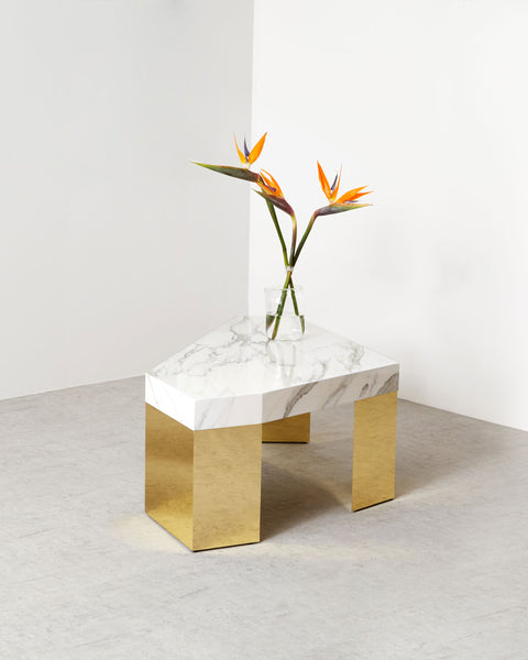 Geometric white carrara marble table top, shiny brass legs coffee table.