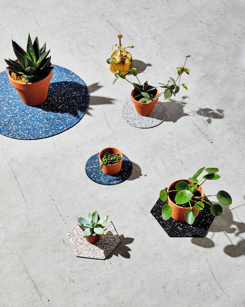 Round and hexagon rubber trivet styled with small plants displayed on concrete surface.