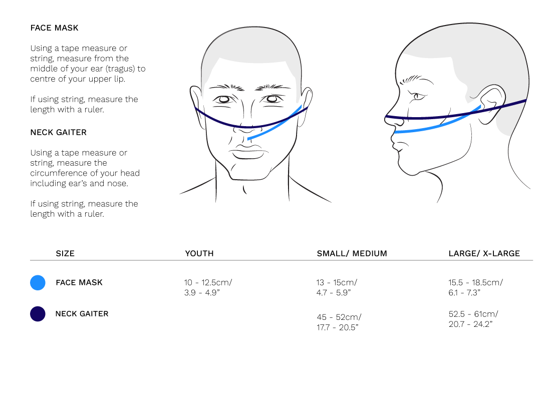 antiviral face mask treated with HeiQ Viroblock sizing guide