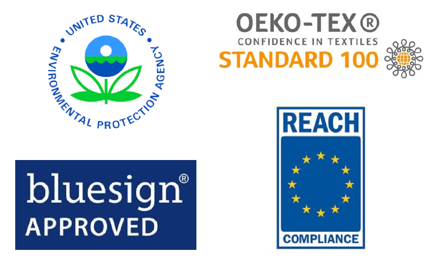 HeiQ Viroblock is certified by a number of trusted organisations. Tested for safety, sustainability and environmental impact.
