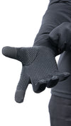 AVIRO anti-viral HeiQ black gloves, with silicon grip on the palm and touch screen sensitivity with index and thumb.