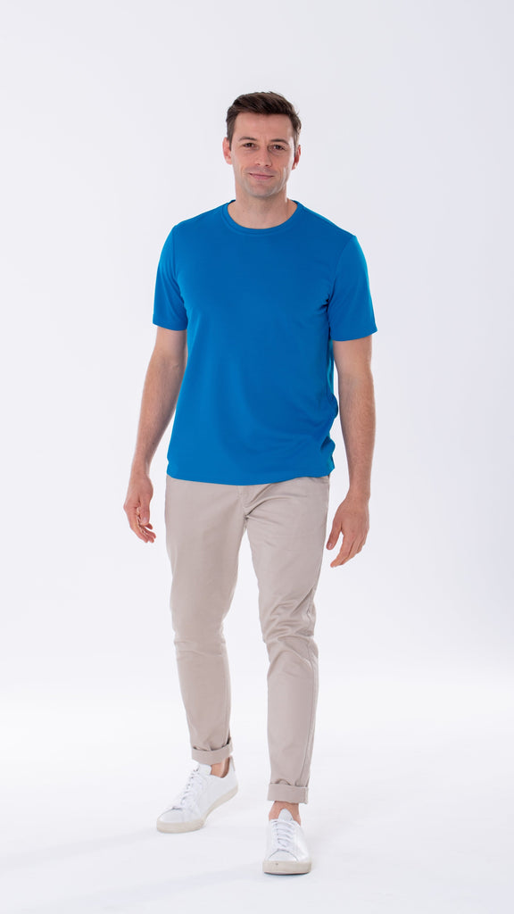 Men's short sleeve blue t-shirt with a smart casual look and fit. Engineered with Heiq Viroblock for antibacterial and antiviral protection.