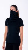 Womens black neck gaiter, engineered with HeiQ Viroblock for antimicrobial protection.