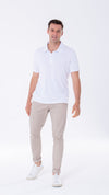 Men's White short sleeve white polo, engineered with Swiss antiviral technology made with lightweight, breathable fabric for a great everyday shirt.