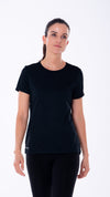 Women's close up of black tee AVIRO, women's range out now.