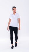White short sleeve polo. Women's short sleeve polo with breathable fabric that is moisture wicking for all day comfort.
