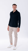 Black polo shirt with long sleeves. Men's polo with HeiQ Viroblock technology. A smart casual favourite.