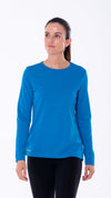 Blue long sleeve T-shirt for women. Garments that help reduce the spread of germs. Perfect lightweight T-shirt for women.