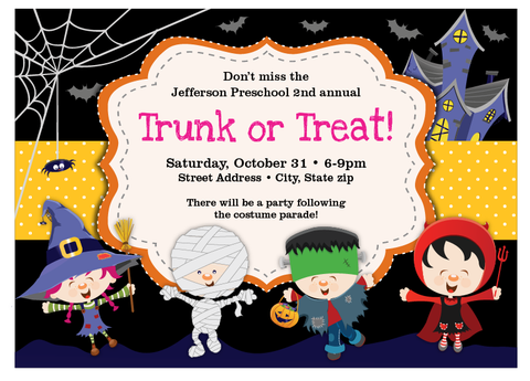 "Halloween ""trunk or treat"" Invitation"