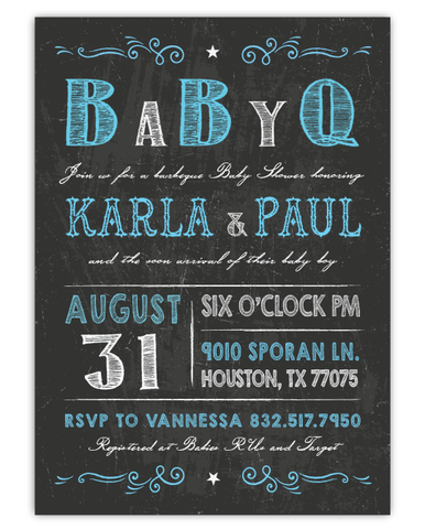 Chalkboard Baby Shower Invitation by Ian and Lola