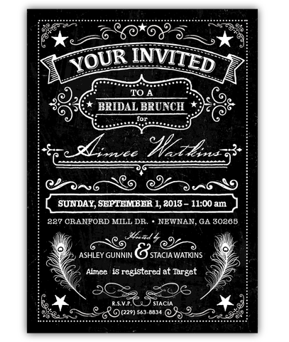 Chalkboard Engagement Invitation by Ian and Lola