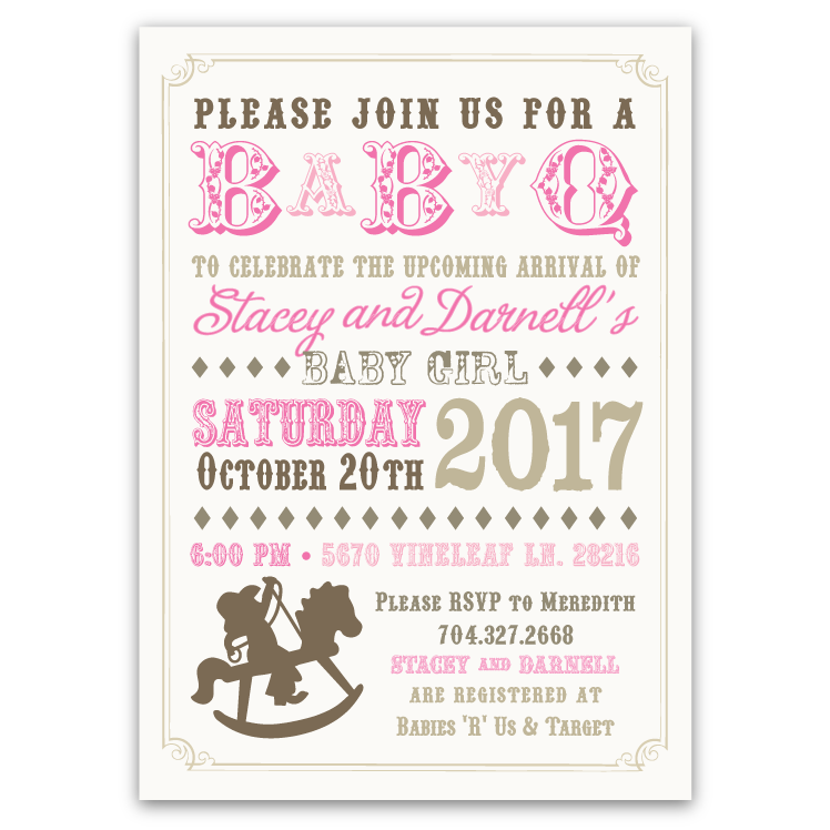 Rocking Horse Baby Shower Invitation Pink – Ian & Lola Design Boutique
