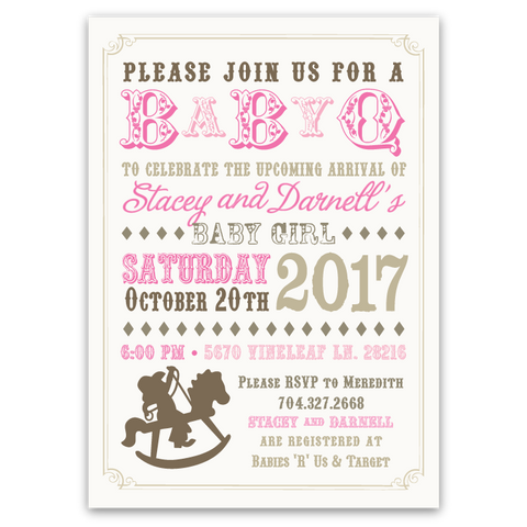 Baby-Q Rocking Horse Shower Invitations (pink)
