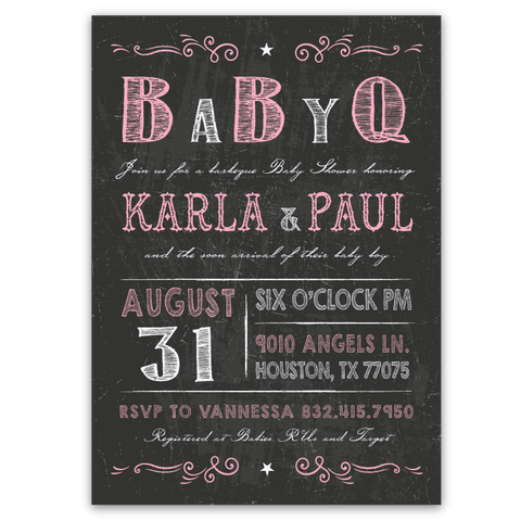 Chalkboard Vintage Baby Shower Invitations (pink)