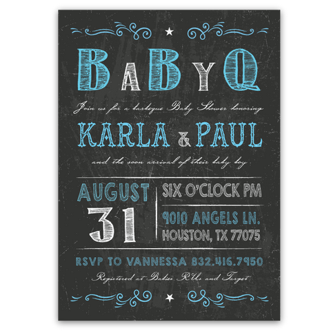Chalkboard Vintage Baby Shower Invitations (blue)