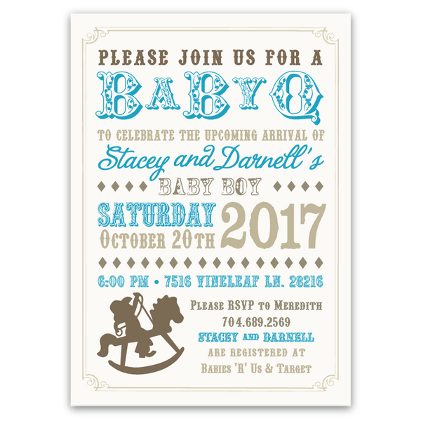 Baby-Q Rocking Horse Shower Invitations (blue)