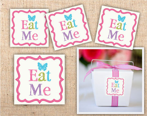 Whimsical Wonderland Square Eat Me Labels
