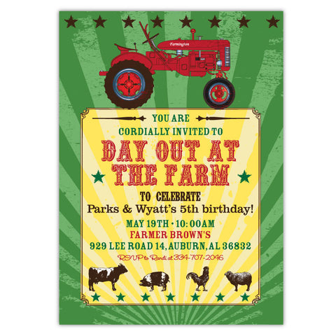 Red Tractor Farm Party Invitations