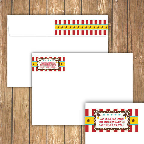 Vintage Carnival Circus Wrap-Around Address Labels in Yellow Teal & Red