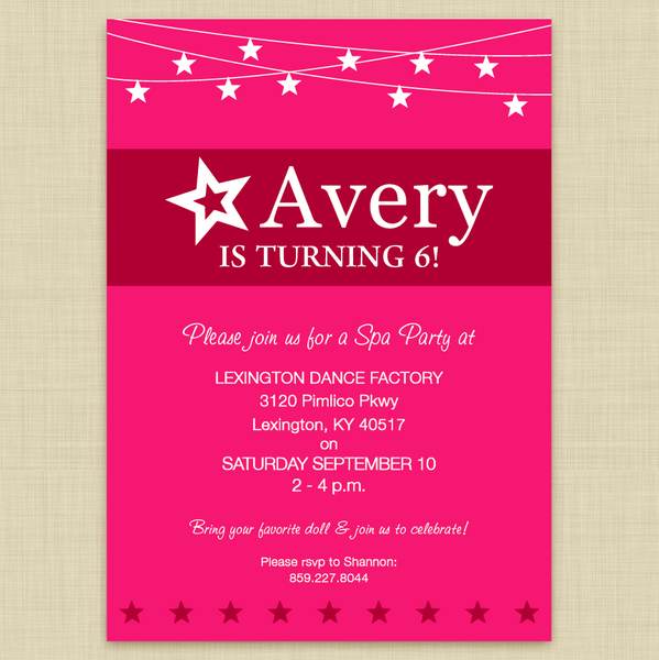 American Girl Doll Themed Party Invitations