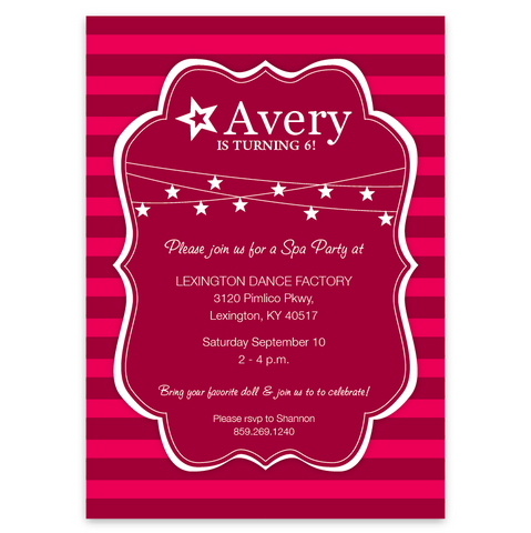 American Girl Doll Themed Party Invitations Striped