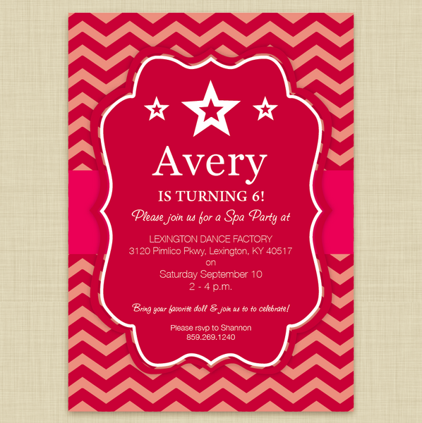 American Girl Doll Themed Party Invitations Chevron