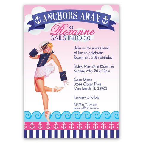 Anchors Away Pin-up Girl Party Invitation