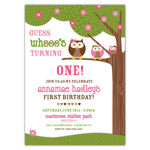Annamae Owls Birthday Party Invitations (pink)