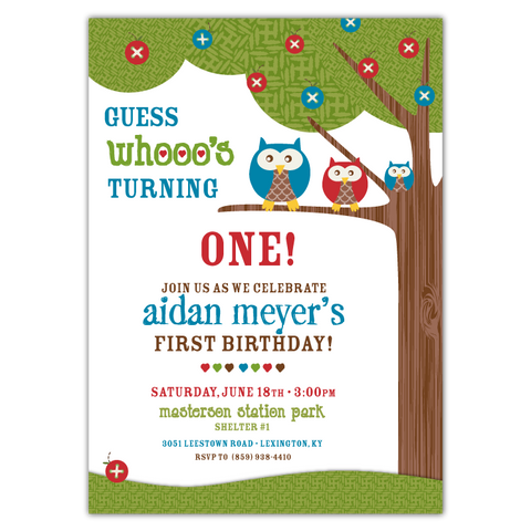 Annamae Owls Birthday Party Invitations (blue)