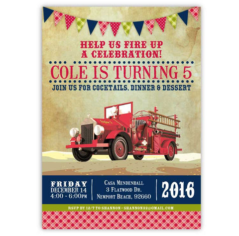 Antique Firetruck Birthday Invitations