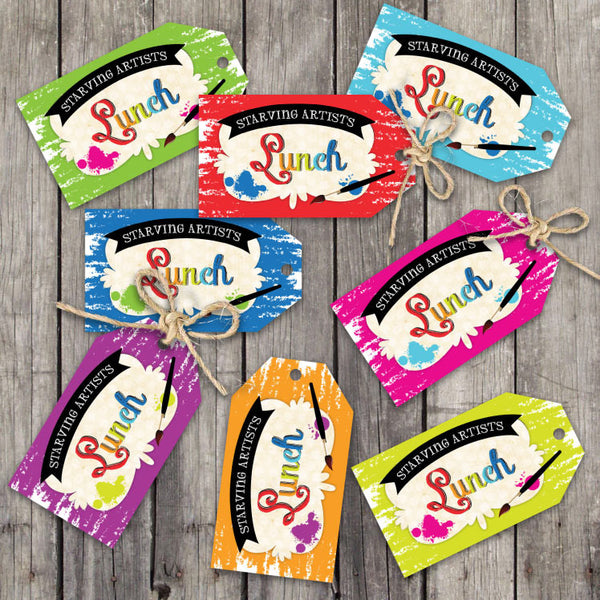 Art Party Luggage Style Favor Tags