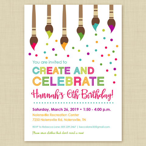 Art, Painting or Craft Party Birthday Invitations