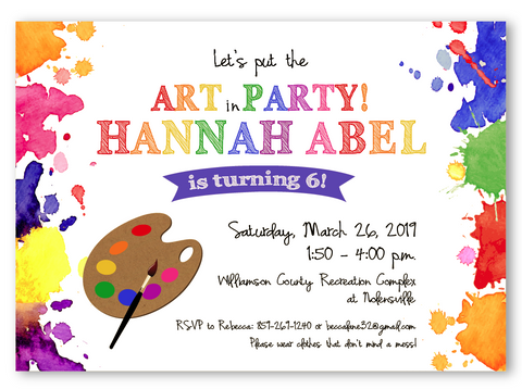 Painting or Craft Party Birthday Invitations
