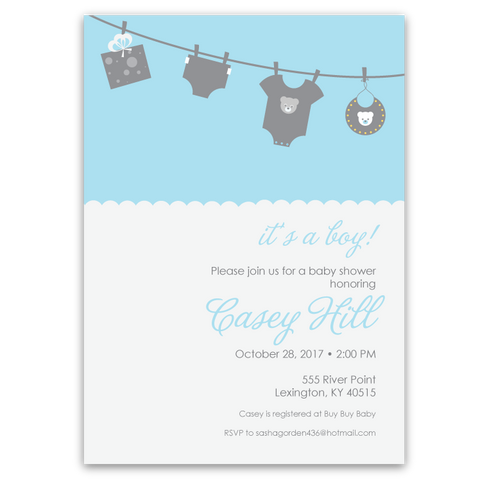 Clothesline Baby Shower Invitations (blue)