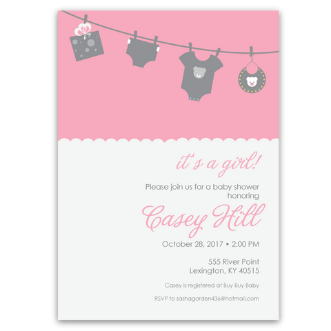 Clothesline Baby Shower Invitations (pink)