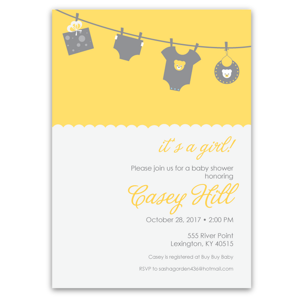 Clothesline Baby Shower Invitations (yellow)