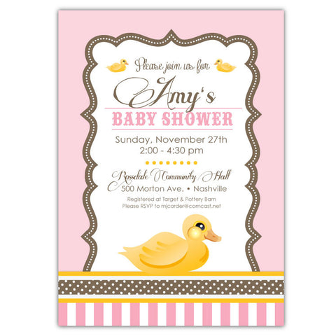 Baby Duckling Shower Invitations (pink)