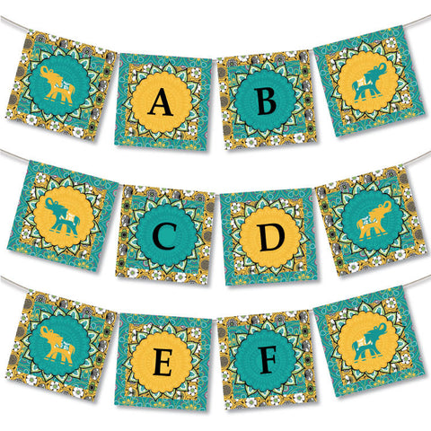 Bali Indian Printable Party Banner in Gold & Teal