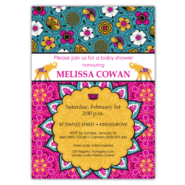 Bali Indian Shower Invitations in Gold & Magenta