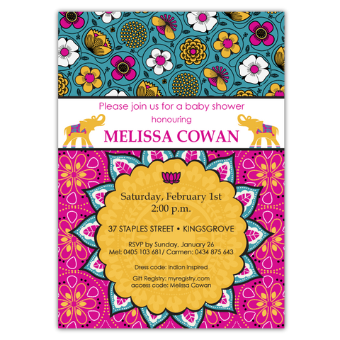 Bali Indian Invitations in Gold & Magenta