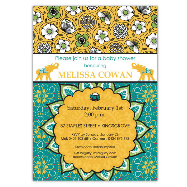 Bali Indian Shower Invitations in Gold & Teal