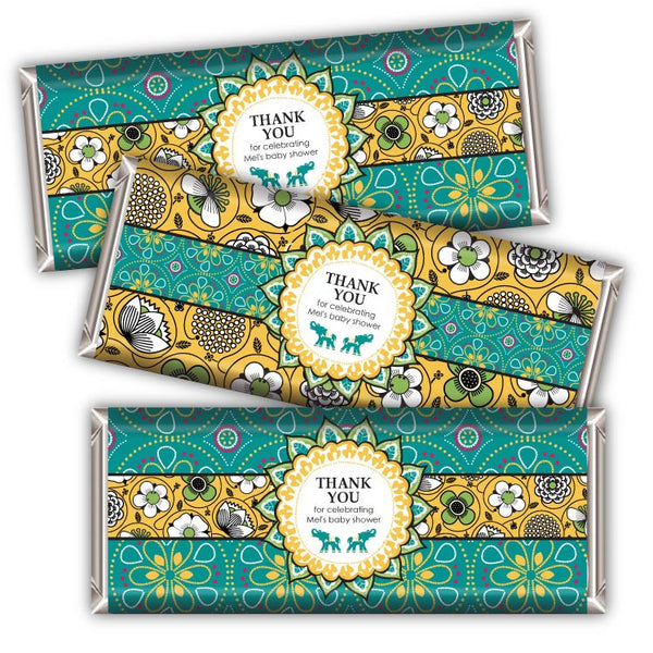 Bali Indian Printable Candybar Wrappers in Gold & Teal