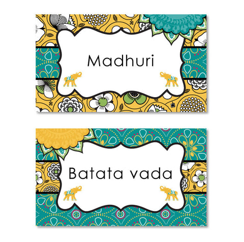 Bali Indian Printable Menu Tents in Gold & Teal