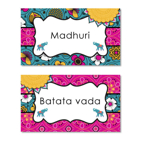 Bali Indian Printable Menu Tents in Gold & Magenta
