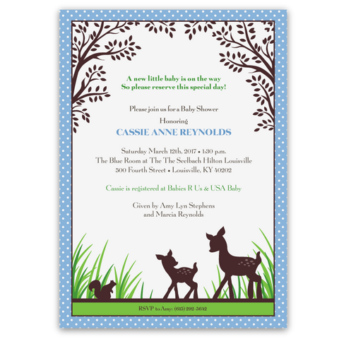 Willow Deer Baby Shower Invitations