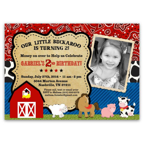 Bandana Farm Animals Birthday Invitations