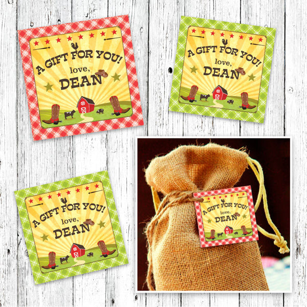 Barn Party Favor Tags