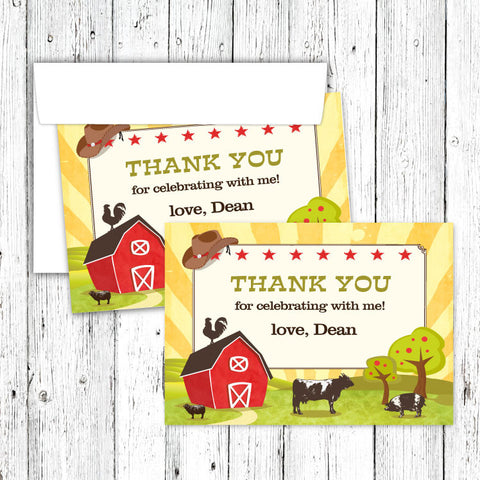 Barn Party Thank You Notecard