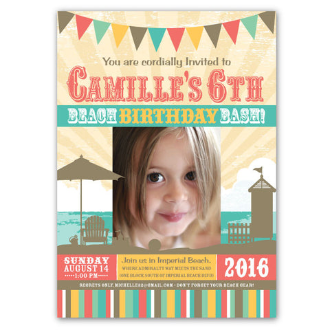 Beach Bash Birthday Invitations (B)